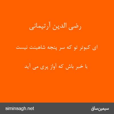 رضی الدین آرتیمانی - ای کبوتر تو که سر پنجهٔ شاهینت نیست
