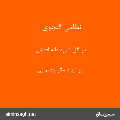 نظامی گنجوی - در گل شوره دانه افشانی