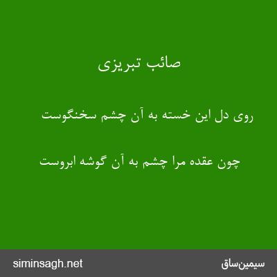 صائب تبریزی - روی دل این خسته به آن چشم سخنگوست