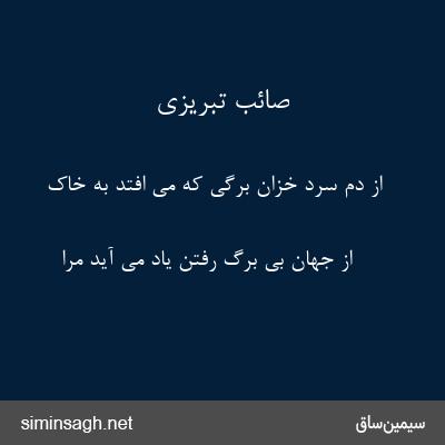 صائب تبریزی - از دم سرد خزان برگی که می افتد به خاک