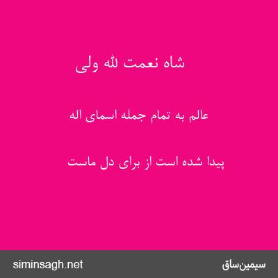 شاه نعمت الله ولی - عالم به تمام جمله اسمای اله